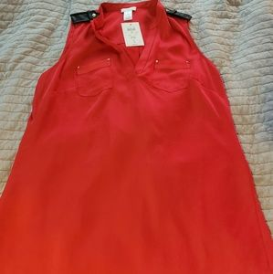 NWT cache v neck leather accent sleevless shirt